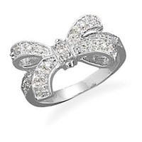 Bow Ring Cubic Zirconia size 5, 6, 7, 8, and 9 Rhodium Over Sterling Silver: Jewelry