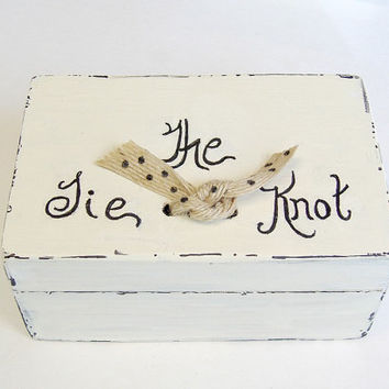 Wedding Ring Box - Tie The Knot Box - Engagement Ring Box - Bridal Gift - Proposal Box- Love Notes