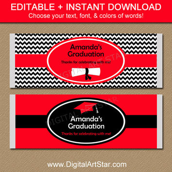 Red Black Class of 2016 Graduation Candy Bar Wrappers - Printable Graduation Party Favors - EDITABLE Graduation Template Party Printable