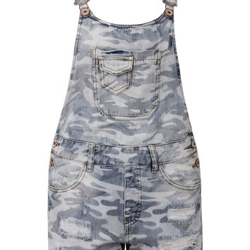 Blue Camouflage Ripped Denim Overalls