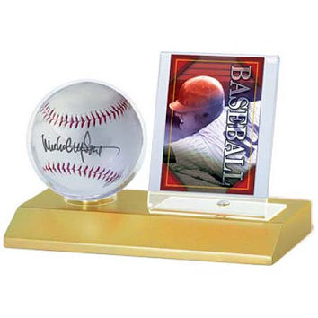 Ultra Pro Wood Base Balll And Card Holder