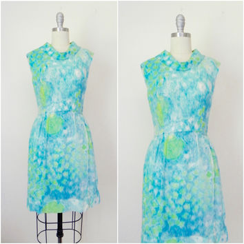 Vintage 1940s/1950s Silk Sheer Overlay Blue Floral Dress