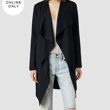 Womens Hace Trench (Ink) | ALLSAINTS.com