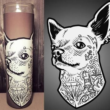 Chihuahua, Flash Tattoo Art, Chihuahua Art, Tattoo Art, Hipster, Dog Art, Home Decor,  Scented  Candle, Prayer Candle, Gift Idea,