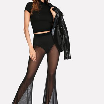 Transparent Mesh Flare Hem Pants