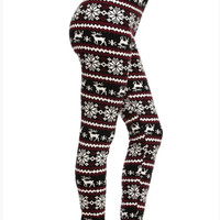 Burgundy & Black Reindeer Leggings