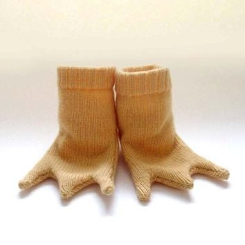 Knitted Baby Chicken Feet Booties Handmade by TheMiniatureKnitShop
