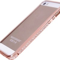 Changeshopping Fashion Luxury Crystal Rhinestone Diamond Bling Metal Case Cover Bumper For iPhone 5 5S (Rose Gold)