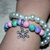 Snowflake Charm Double Beaded Bracelet