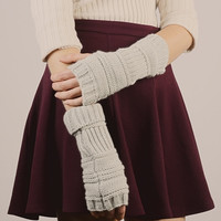 Ribbed Knit Arm Warmers - Light Grey