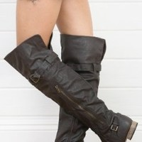 Tosca-49 Zipper Round Toe Riding Thigh High Boot Tan or Brown (6.5, Brown)