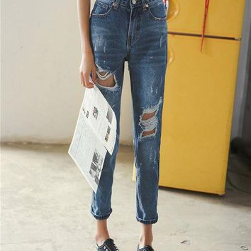 ac DCK83Q Ripped Holes Pants Jeans [45274529817]