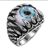HOT selling Men's Ring Eye Ring  Metal Jewelery Stainless Steel Party Luck Blue Eye Ring Punk Wind Ring