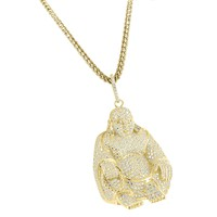Religious Buddha Pendant 14k Gold Finish Fully Iced Out Sterling Silver Free Franco Chain