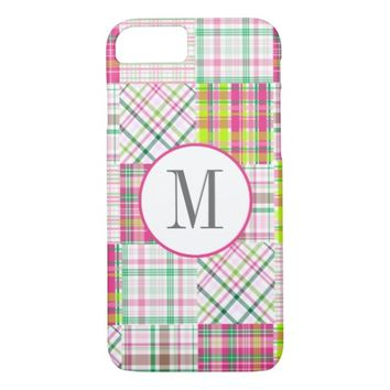 Monogram, Preppy, Madras, Plaid, Pink iPhone 7 Case