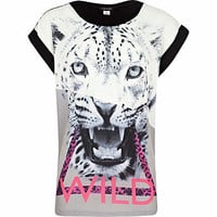 Girls cream leopard wild t-shirt