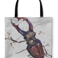 Tote Bag, Stag Beetle Insect Tshirt Graphics Stag Beetle Illustration With Splash