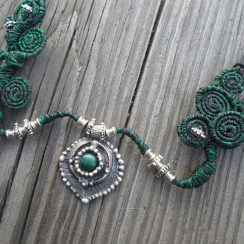 Metal Clay Necklace/ Malachite / Woodland Necklace / Fairy Jewelry / Green and Black / Spiral Wire / Recycled Silver