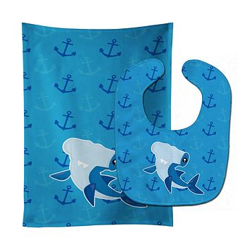Hammerhead Shark on Anchors Baby Bib & Burp Cloth BB6941STBU