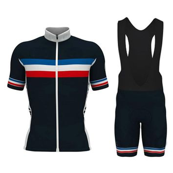 French champions Pro Team Men Cycling Jersey Bicycle Wear Short Sleeve Mtb Bike Maillot Ciclismo Cycling Clothing Sets #DTZ-044