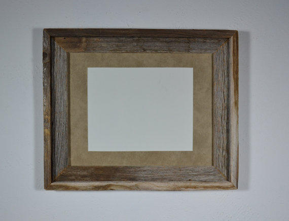 Recycled barn wood picture frame 11x14 with beautiful 8x10 mat