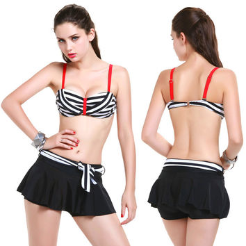 Women Swimsuit Stripe Underwire Push Up Bikini Set  & Cover Solid Skirt  3 Pieces Swimming Suit 2016 Summer Beach Sexy Swimwear