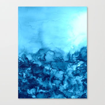 INTO ETERNITY, TURQUOISE Colorful Aqua Blue Watercolor Painting Abstract Art Floral Landscape Nature Canvas Print by EbiEmporium