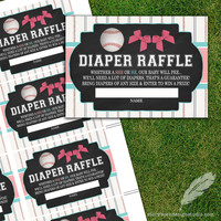 Baseball or Bows Gender Reveal Diaper Raffle Tickets