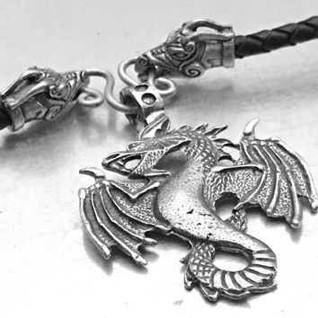Air Dragon Necklace, Pendragon Necklace, Dragon Bolo Necklace, Dragon Necklace, Fire Breathing Dragon Necklace, Gothic Dragon Necklace