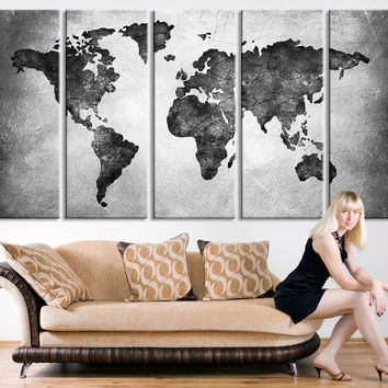 Large Canvas Print - Black and White World Map Wall Art,  Large Wall Art World Map Art, World Map Print, Cracked Earth World Map Print - MC156