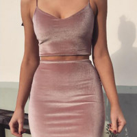 Fashion Sexy straps pure color belly hollow vest  short skirts two piece