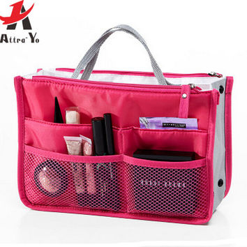 Attro-Yo! 2016 women bags Nylon Multifunction Makeup Bag Organizer Women Cosmetic Cases  Travel Bag  toiletry kits LM2136