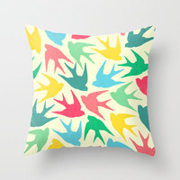 Birds Throw Pillow by Jacqueline Maldonado