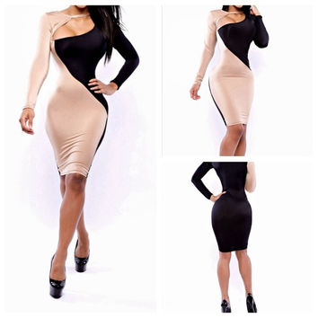 2014 Sexy Fashion Black Apricot Patchwork Sexy Night Club Celebrity Women Long Sleeve Slim Bandage Dress C069 = 5738677185
