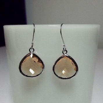 Peach Champagne Glass Drop Earrings, Mothers Day, Mom Sister Grandmother Jewelry Gift, Silver, Pretty Spring Earrings, Cocktail