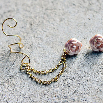 Gold (or Silver) Pink Flower Ear Cuff Earring