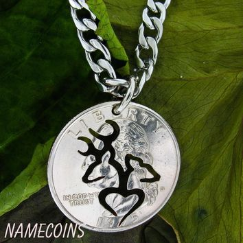 Buck and Doe Heart Silhouette Quarter, Hand Cut Coin by NameCoins