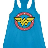 Wonder Woman Logo Juniors Blue Tank Top