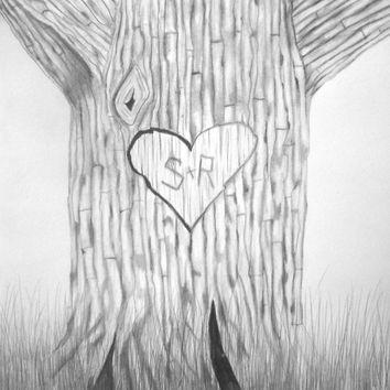Tree Heart with Initials Personalized Original Pencil Drawing 11X14 black and white fine art cute wedding anniversary gift