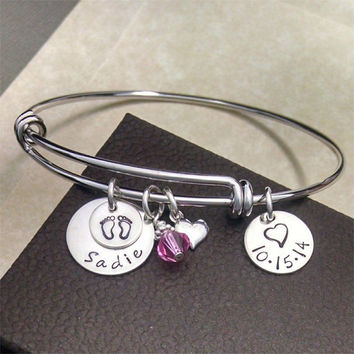 New Mom Adjustable Bracelet - Baby Name Date Birthstone - Alex and Ani Inspired - Personalized Hand Stamped Silver - New Baby Bangle
