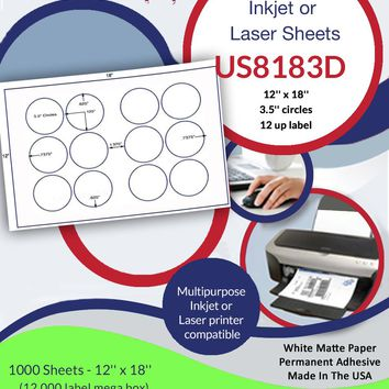 US8183D - 12 up - 3.5'' circles on a 12'' x 18'' sheet - 12,000 labels.