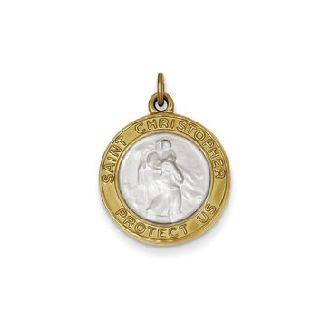 Sterling Silver & Gold Plated Satin St. Christopher Medal Pendant