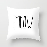 Meow Throw Pillow by Lucy Helena