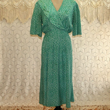 80s 90s Green Dress Large 30s Style Short Sleeve Midi Spring Dress Print Dress with Pockets Ms Chaus Size 12 Dress Womens Vintage Clothing