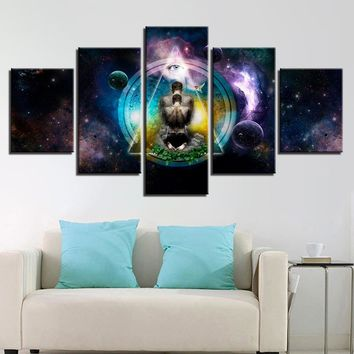 5 Panel OM Yoga Symbol Poster Buddha Buddhism Abstract Wall Art Print Canvas