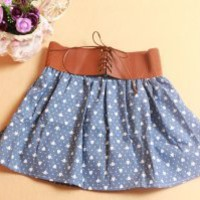 Heart Print Jeans Cotton Skirt Light Blue