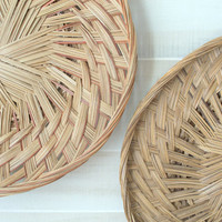 Woven Wall Basket Collection,  Wicker Wall Baskets, Collection of Large Wicker Baskets, Flat Rattan Baskets