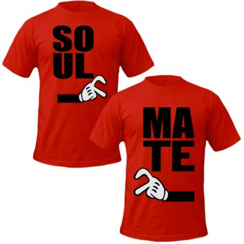 soul mate mickey two fingers Couple Tshirts