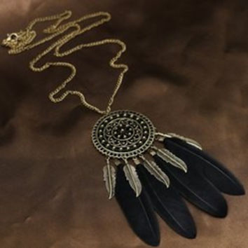 Coin Leaf Faux Feather Sweater Chain