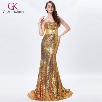 Grace Karin Long Gold Prom Dresses 2017 Sexy Sequin Sparkly Silver Prom Dresses Beaded Strapless Mermaid Formal Evening Gowns